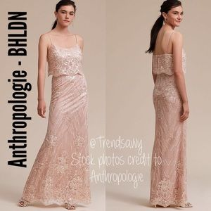ANTHROPOLOGIE BHLDN Arden Embroidered sequin Dress